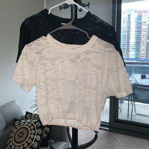 BUNDLE Aritzia Wilfred lace cropped Piaf T-shirts